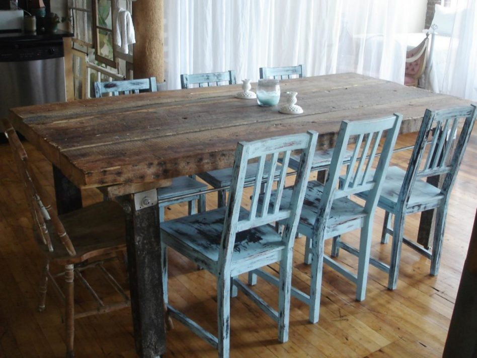 rustic dining room table bench photo - 9