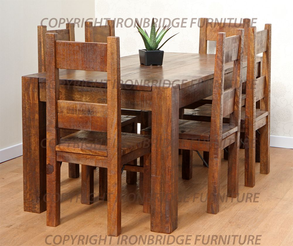 rustic dining table and chairs photo - 4