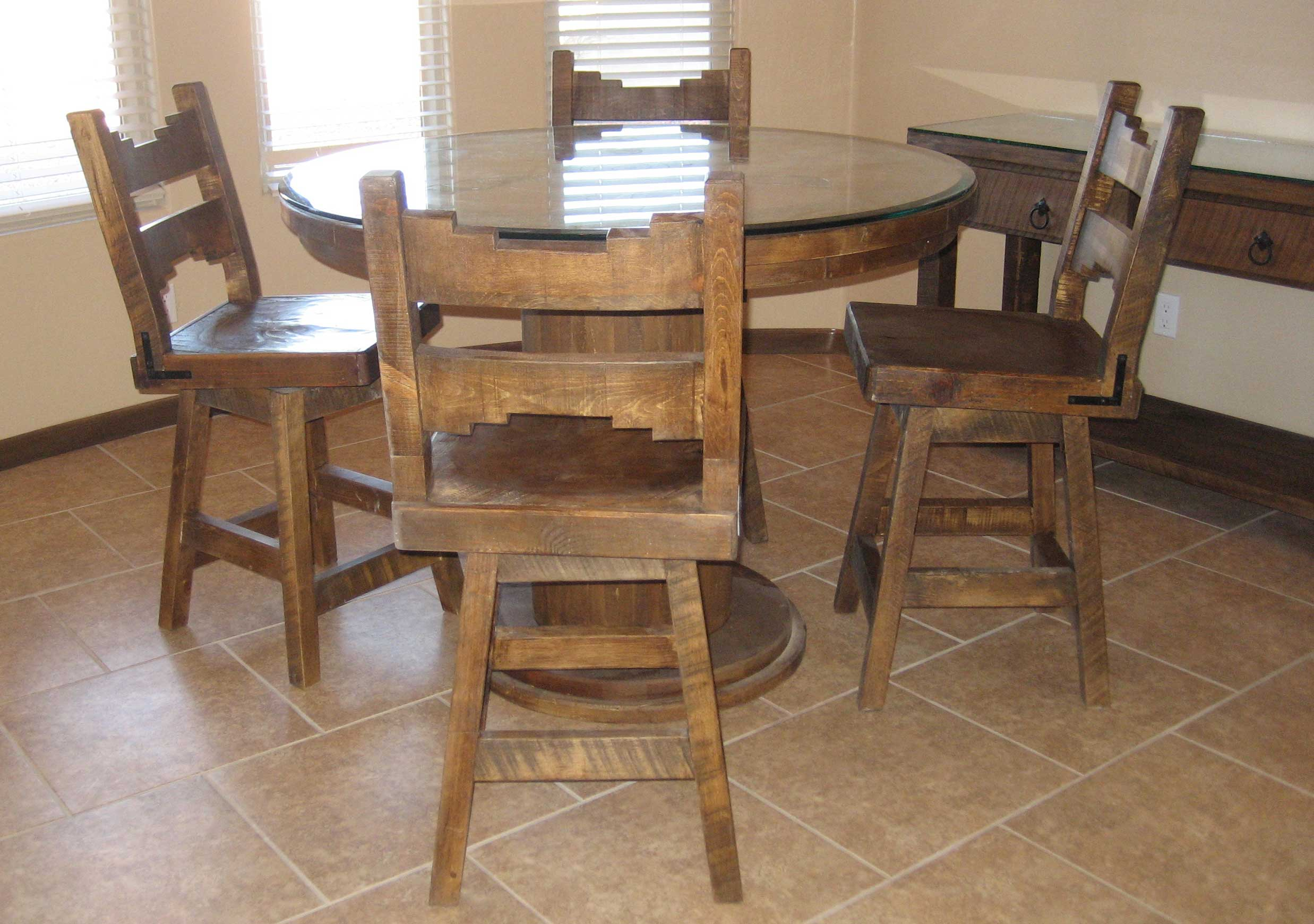 rustic dining table and chairs photo - 7