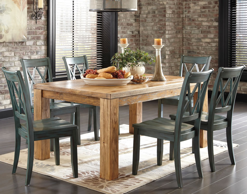 rustic dining table and chairs photo - 8