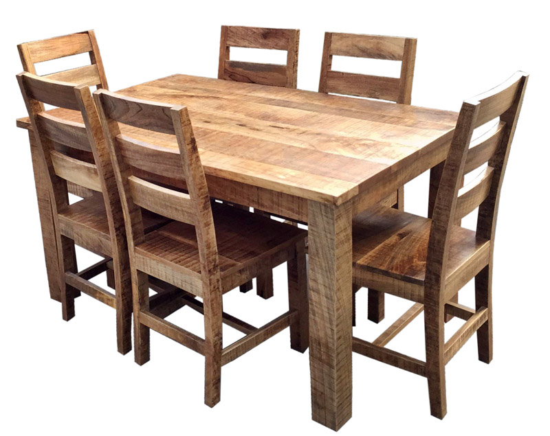 rustic dining table and chairs photo - 9