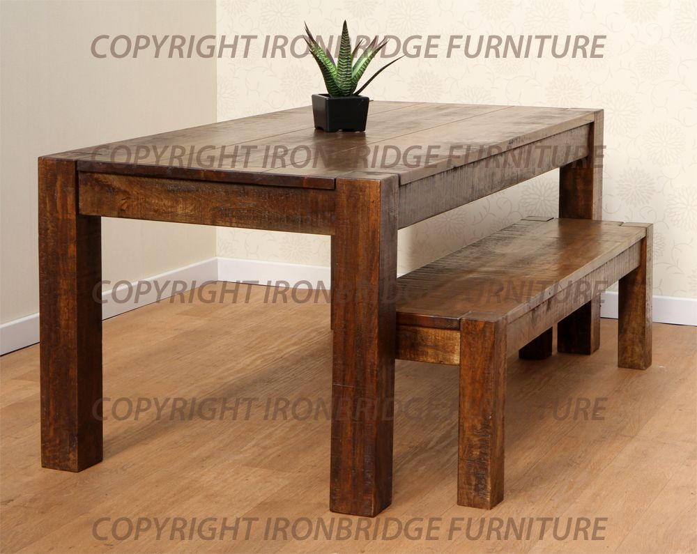 rustic dining table with bench photo - 5