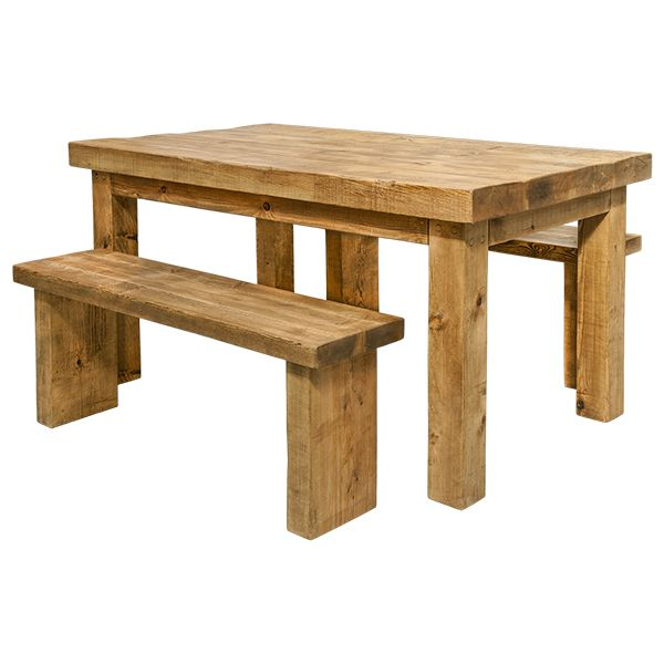 rustic dining table with bench photo - 9
