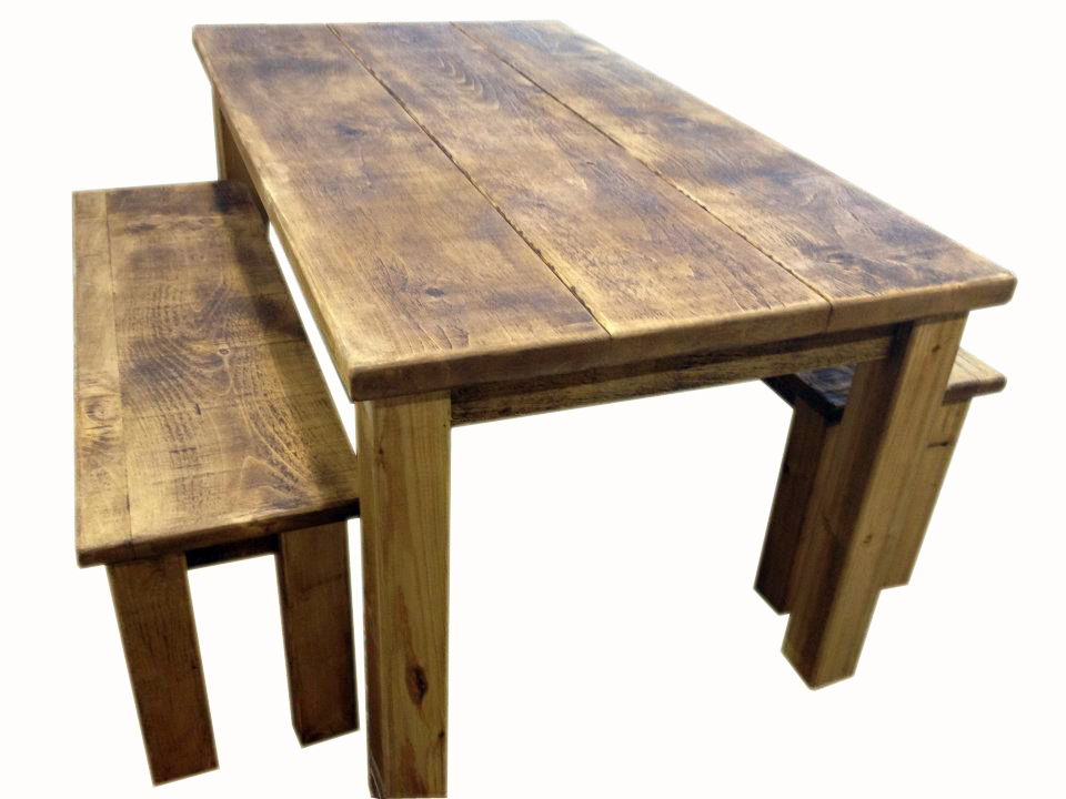 rustic pine dining table bench photo - 1