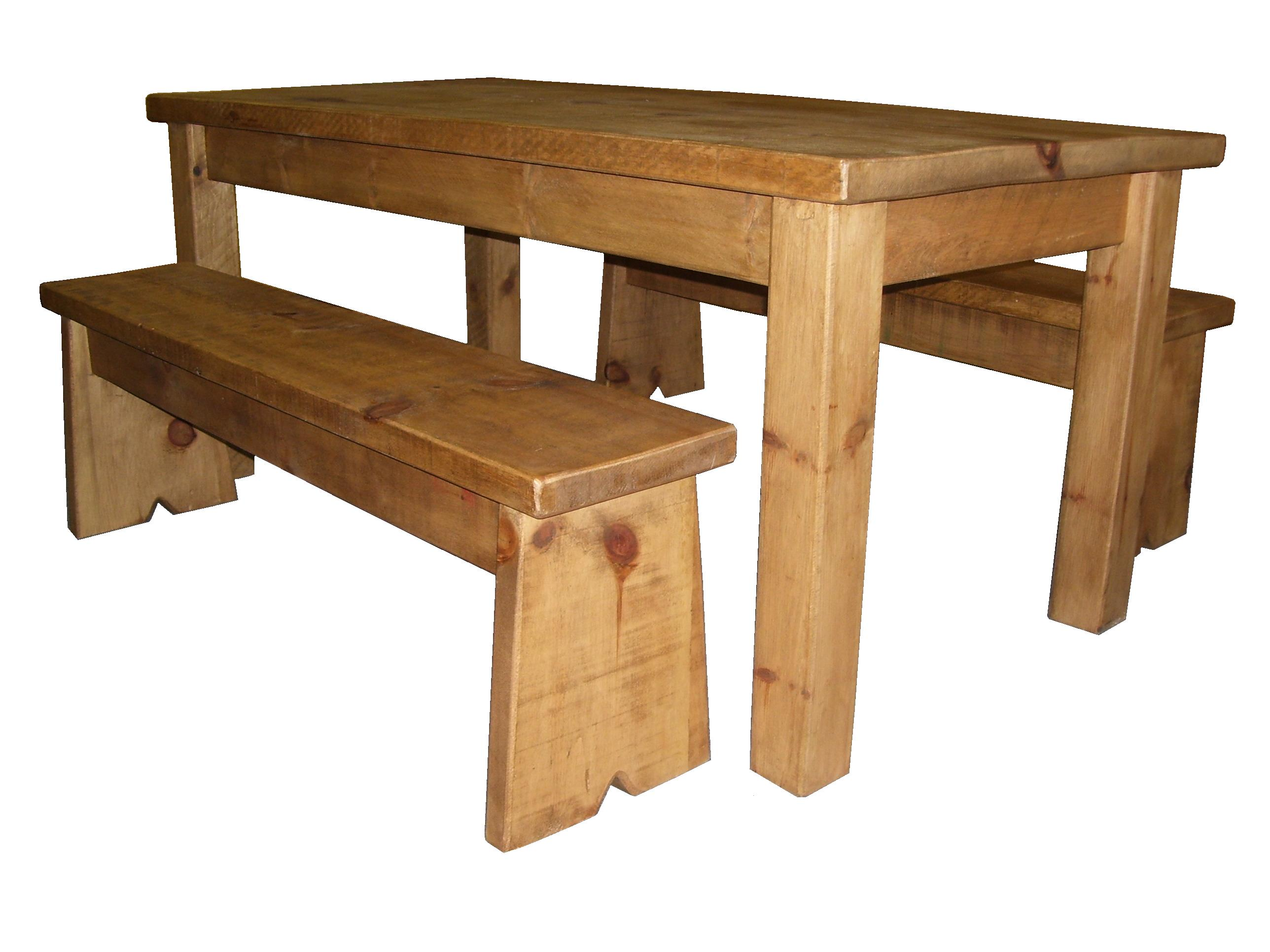 rustic pine dining table bench photo - 2