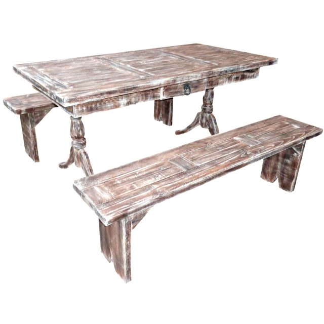 rustic pine dining table bench photo - 6