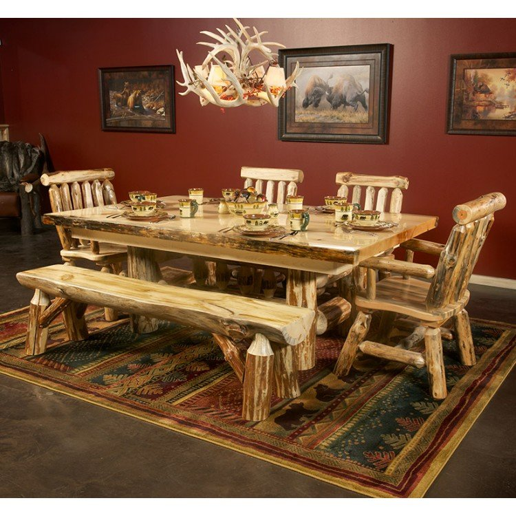 rustic pine dining table bench photo - 7