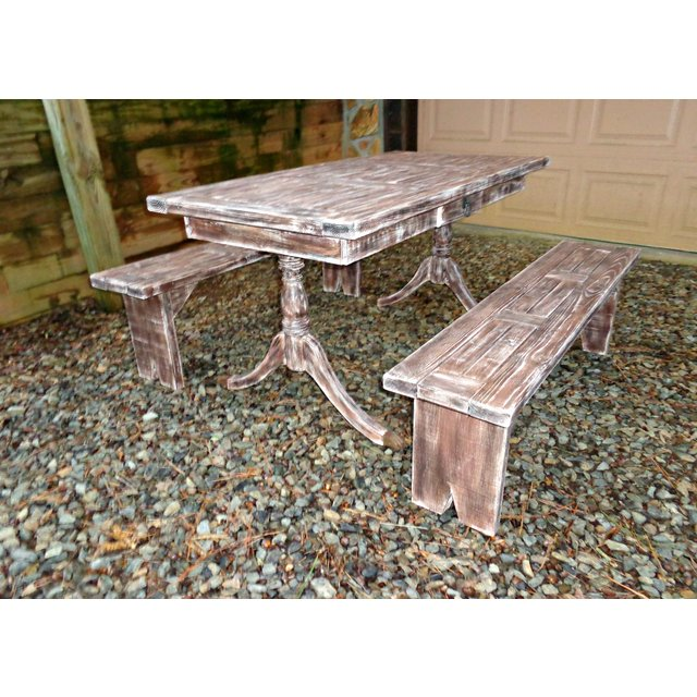 rustic pine dining table bench photo - 9