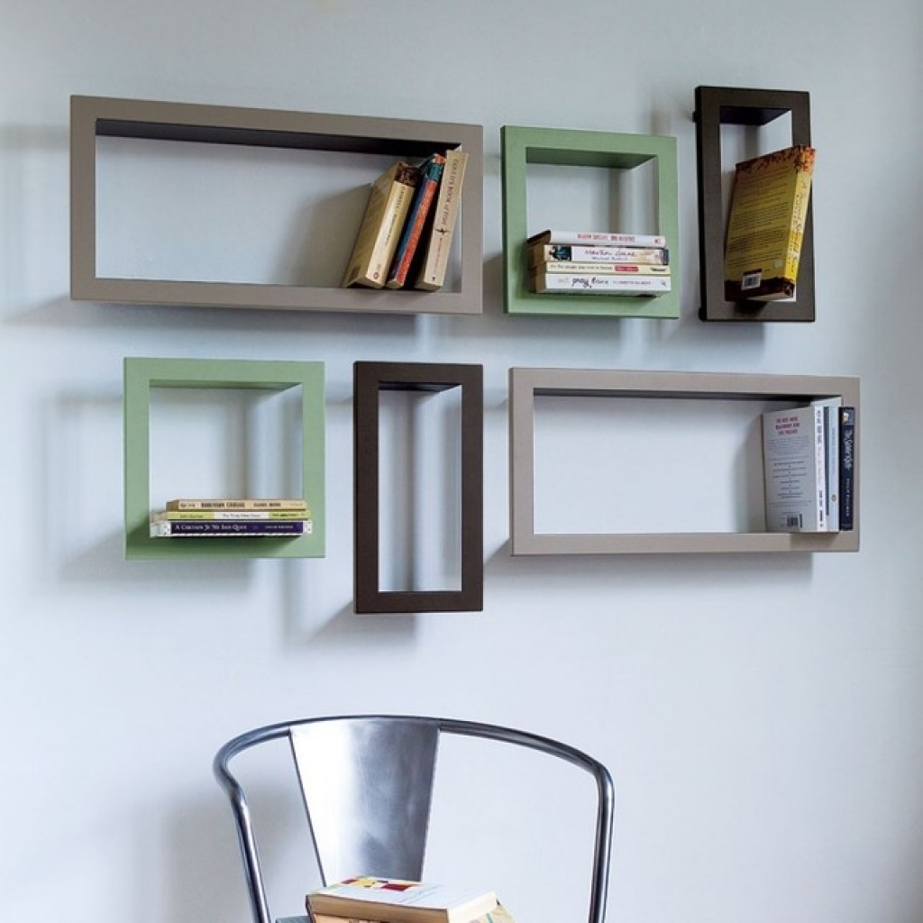 wall mounted shelves for books photo - 10
